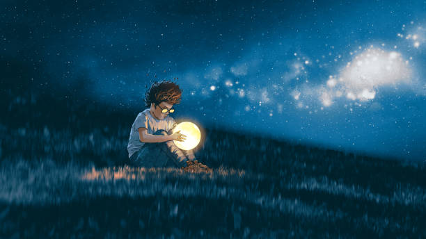 boy with a little moon in his hands night scene showing young boy with a little moon in his hands sitting on meadow, digital art style, illustration painting dreamlike stock illustrations
