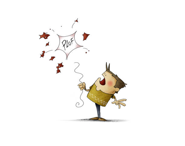boy with a red balloon which get burst - Illustration vector art illustration
