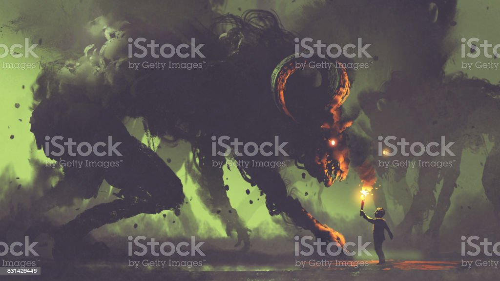 boy with a torch facing smoke monsters vector art illustration