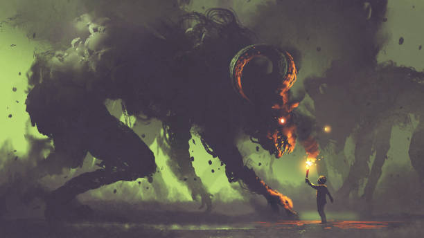 boy with a torch facing smoke monsters dark fantasy concept showing the boy with a torch facing smoke monsters with demon's horns, digital art style, illustration painting dreamlike stock illustrations