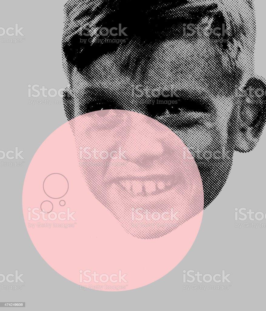 Boy With Bubble vector art illustration