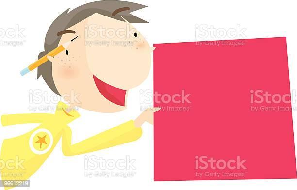 Boy With Card-vektorgrafik och fler bilder på Barn