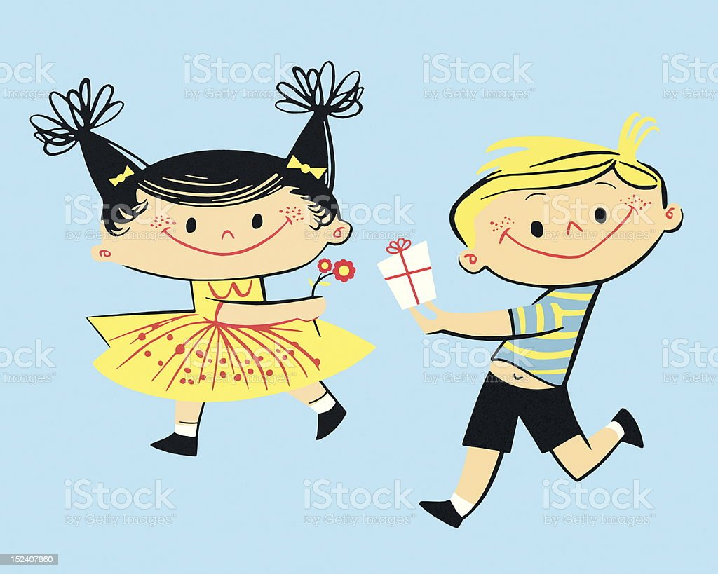 Boy With Gift and Girl With Flowers royalty-free boy with gift and girl with flowers stock vector art & more images of activity