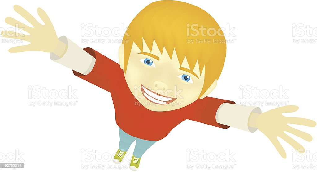 Boy with hands raised, smiles and looks up royalty-free stock vector art