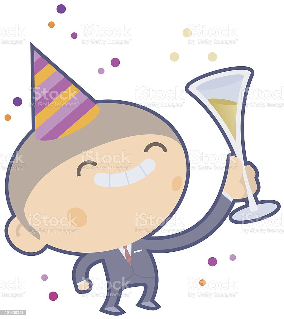 Boy  with Party Hat celebrating New Year´s Eve royalty-free stock vector art