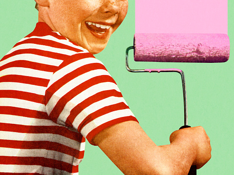 Boy with Pink Paint and a Roller