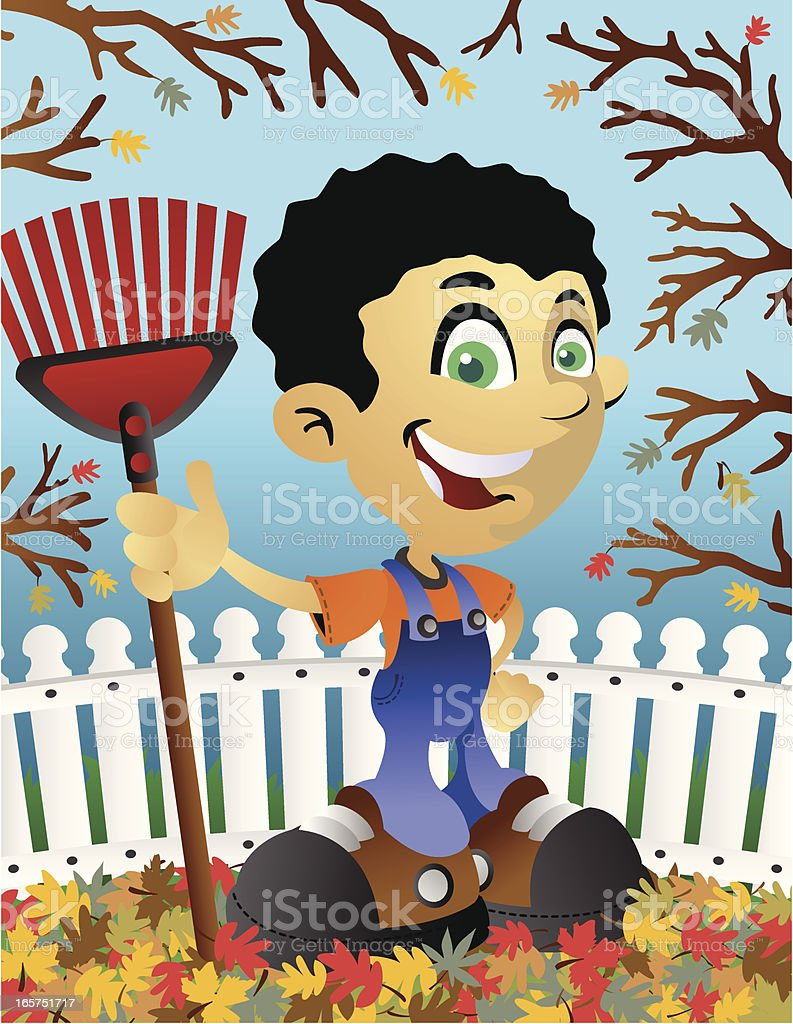 Boy with Rake vector art illustration