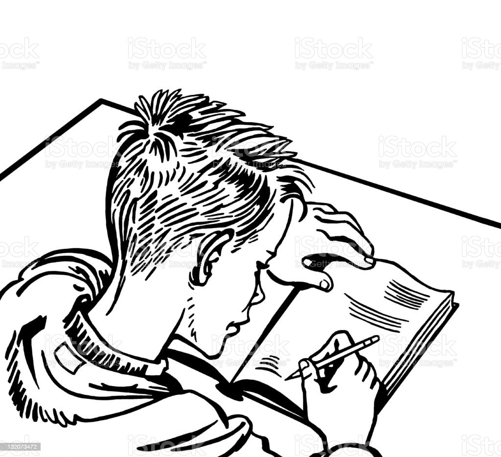Boy Writing in Notebook royalty-free stock vector art