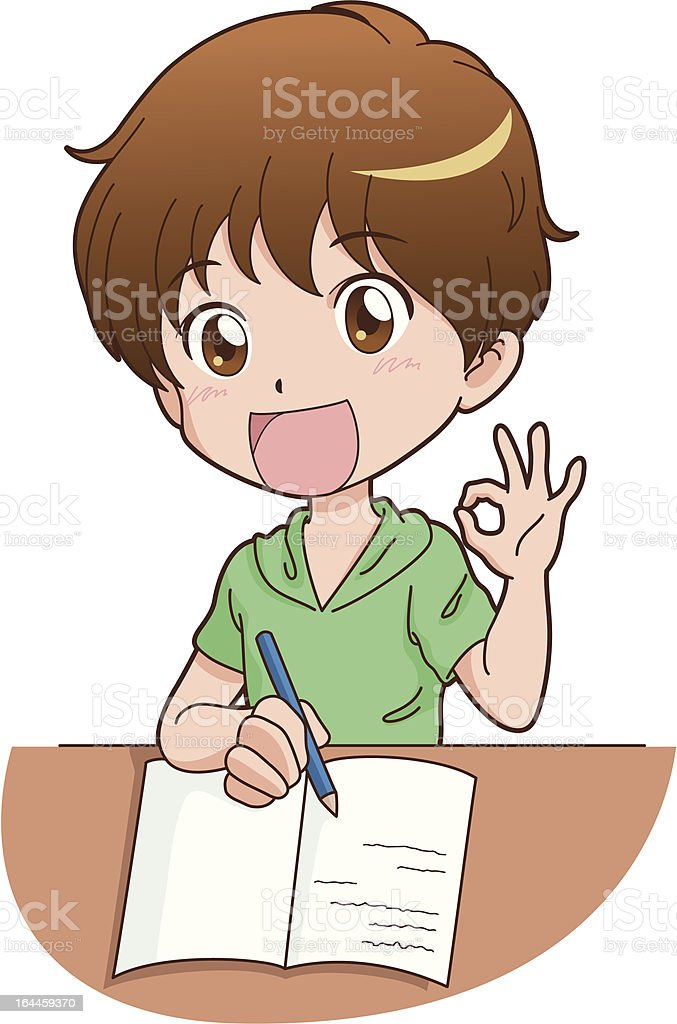 boy_study vector art illustration