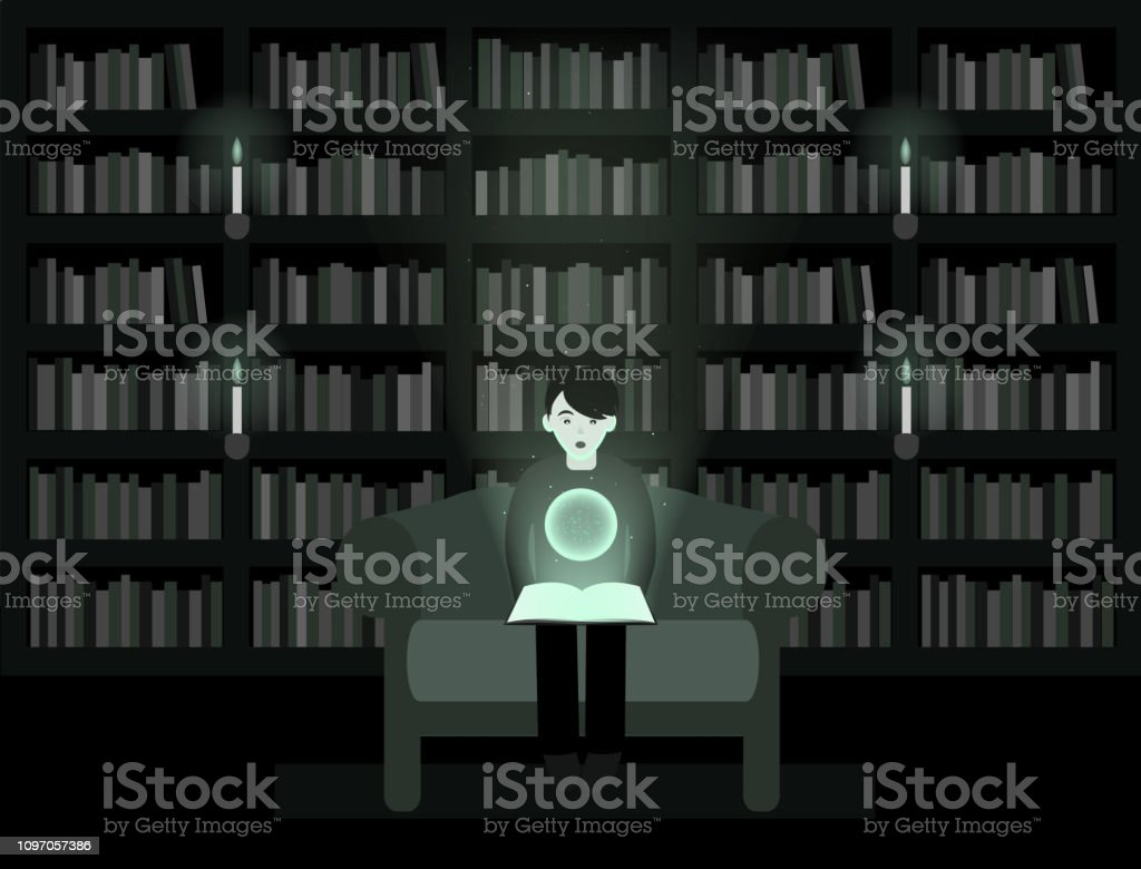 Garconenfant Ouvre Un Livre Magique Dans La Bibliotheque