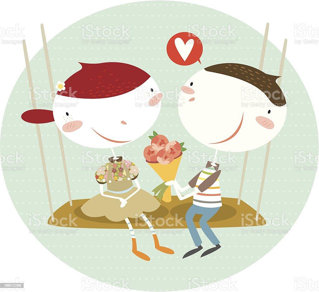 Boyfriend Giving Girl Flowers on Swing - Royaltyfri Alla hjärtans dag vektorgrafik