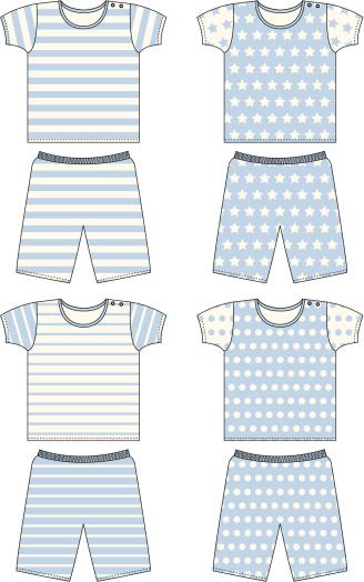 Boys Short Pyjama/Romper Suit Set in 4 Classic Patterns
