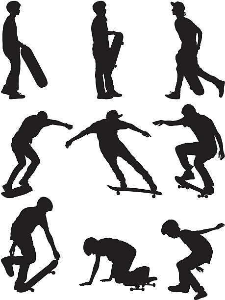 stockillustraties, clipart, cartoons en iconen met boys skateboarding - buigen lichaamsbeweging