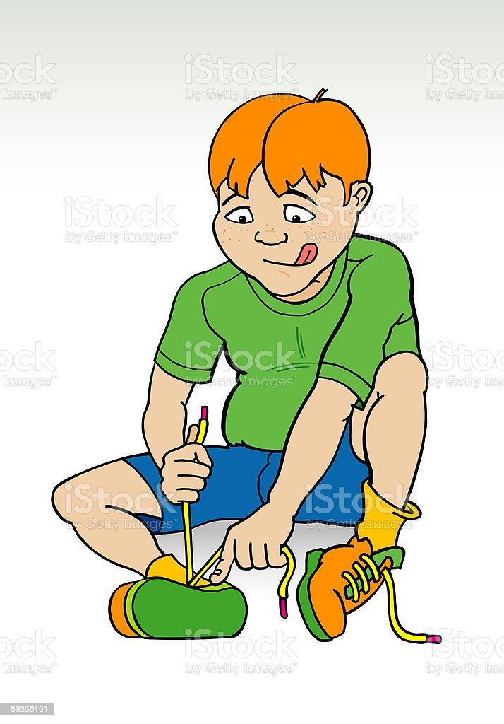 Boy putting on deodorant clip art
