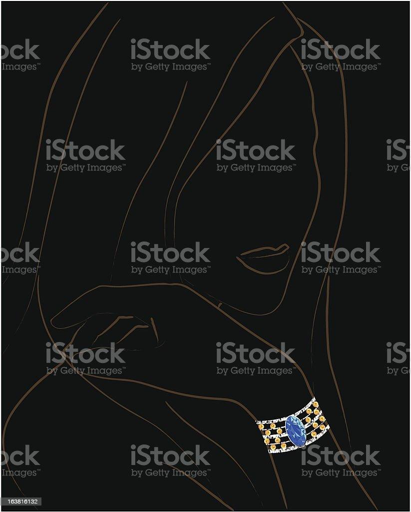 Bracelet on a female silhoutte royalty-free stock vector art