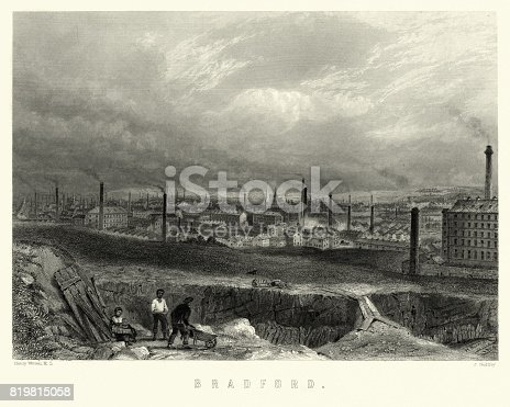Vintage engraving of Bradford, West Yorkshire, 19th Century. A skyline full of factories, mills and chimney stacks.