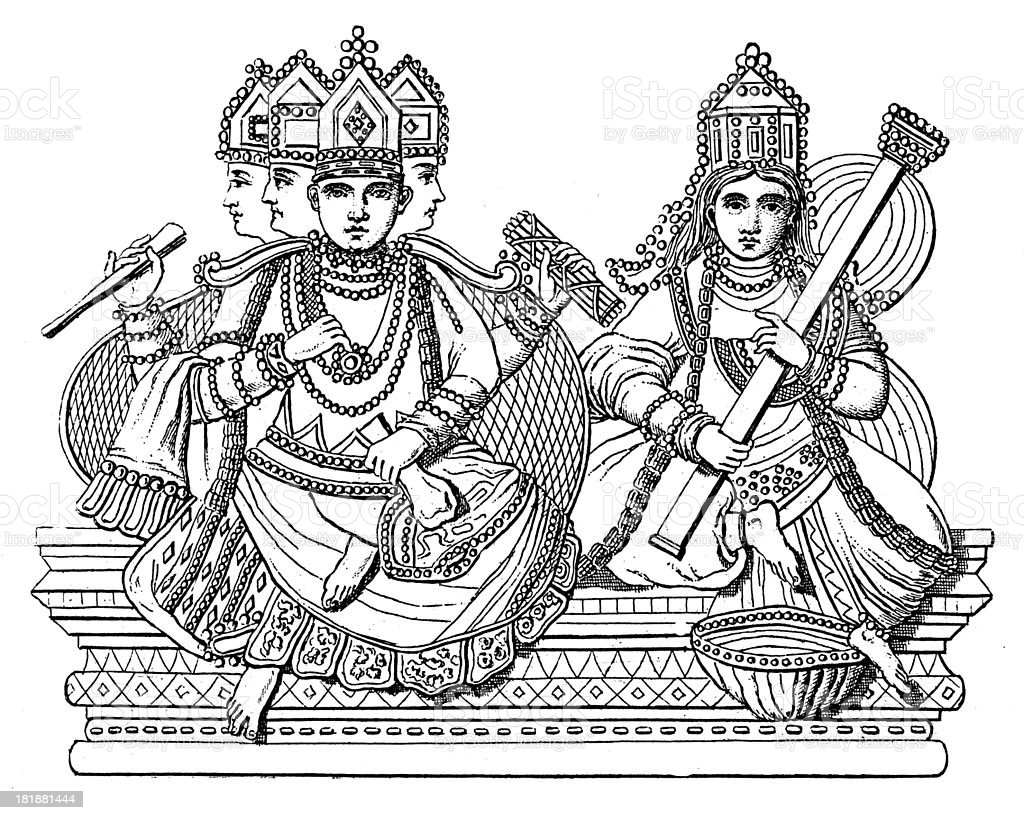 Brahma and Saraswati (antique wood engraving) royalty-free brahma and saraswati stock vector art & more images of 19th century