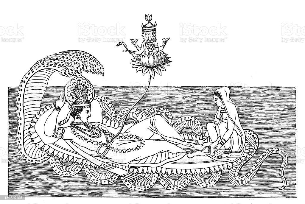 Brahma, Vishnu and Lakshmi (antique wood engraving) vector art illustration