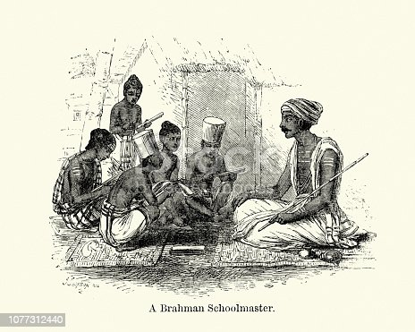 Vintage engraving of a Brahman Schoolmaster, India, 19th Century. Brahmin is a varna (class) in Hinduism specialising as priests, teachers (acharya) and protectors of sacred learning across generations.
