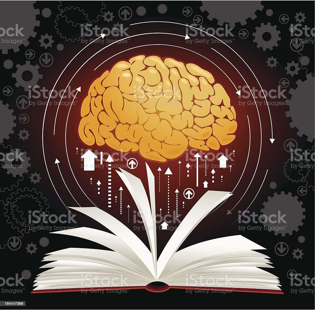 Brain book vector art illustration