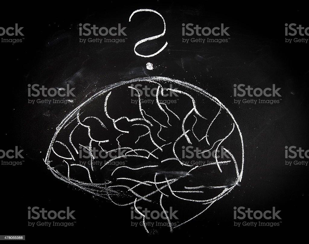 Brain on Blackboard vector art illustration