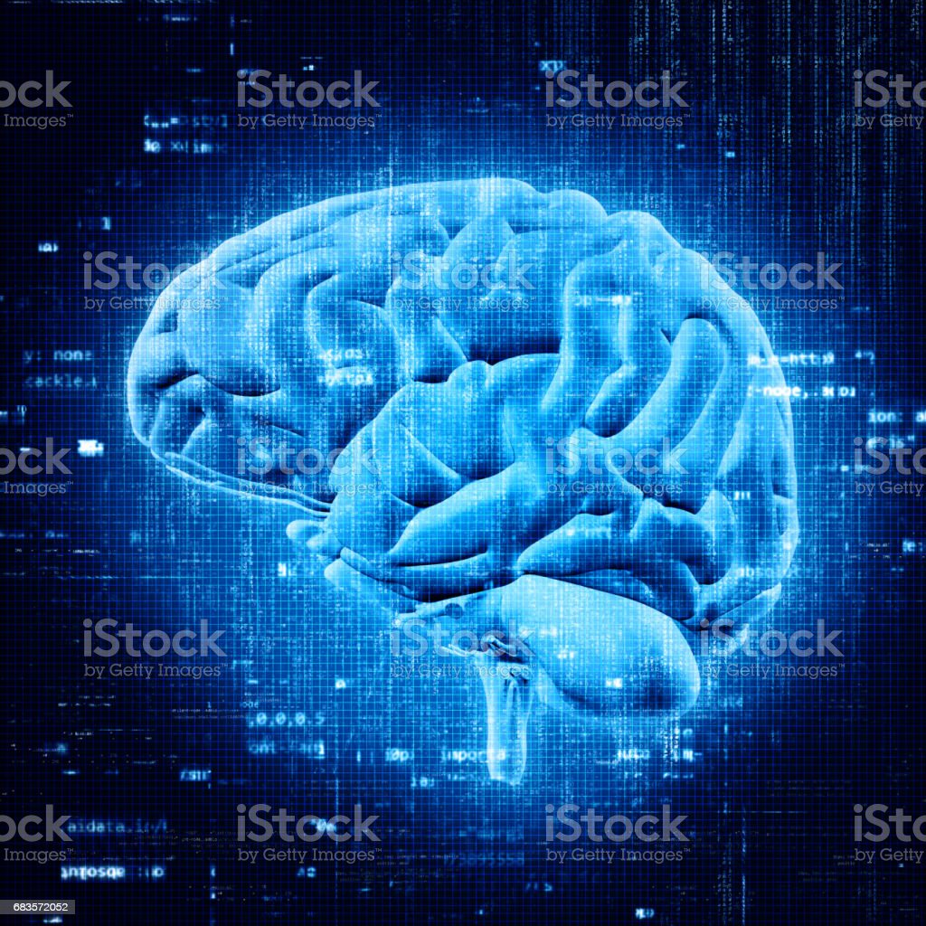 3D brain with abstract programming code vector art illustration