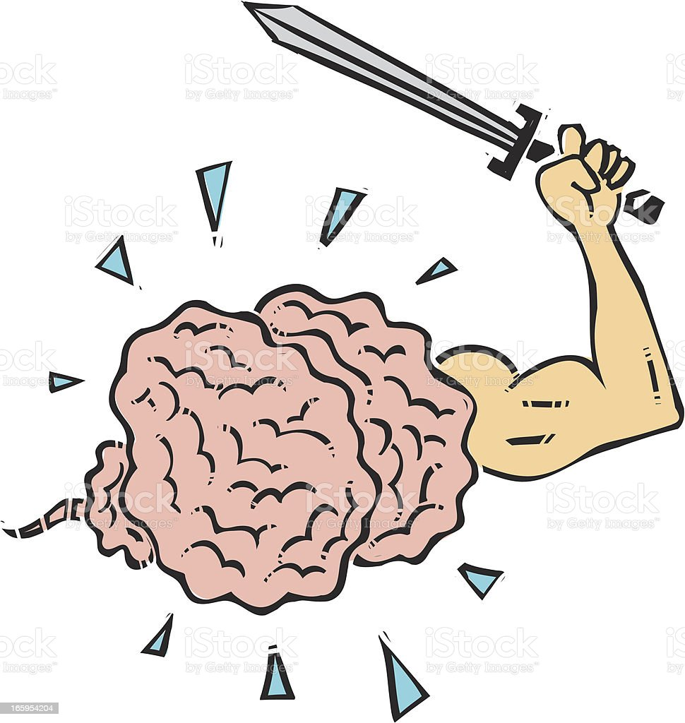 Brain with sword royalty-free stock vector art