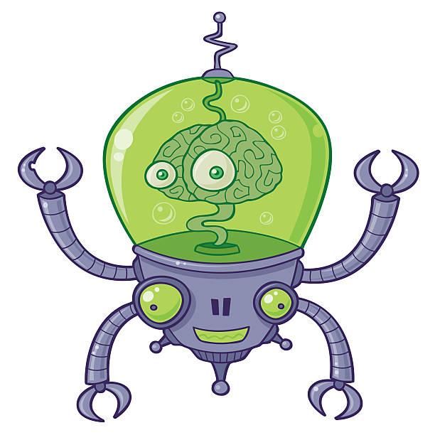 BrainBot Robot with Brain vector art illustration