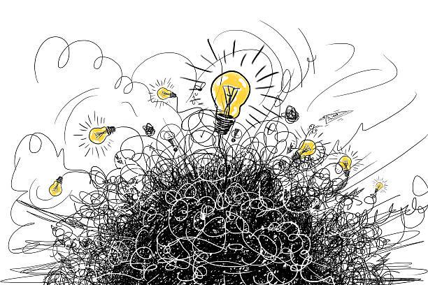 stockillustraties, clipart, cartoons en iconen met brainstorm concept - chaos