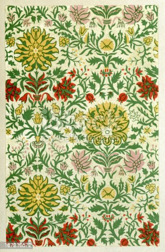 Vintage lithograoh of a Branches twining in mullion forms ornamental textile pattern, 17th Century  style