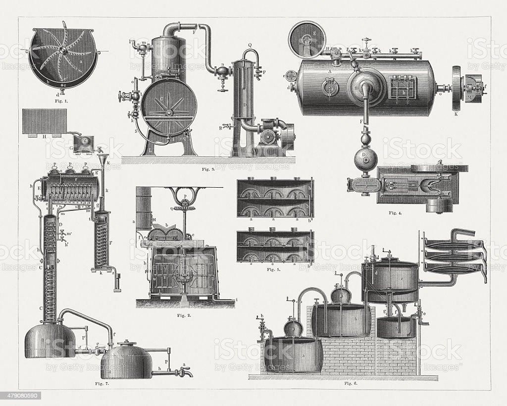 Brandy distillery, wood engravings, published in 1878 vector art illustration