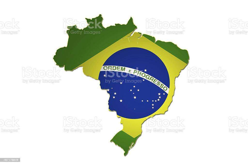 Brasilian flag in Brazil map. vector art illustration