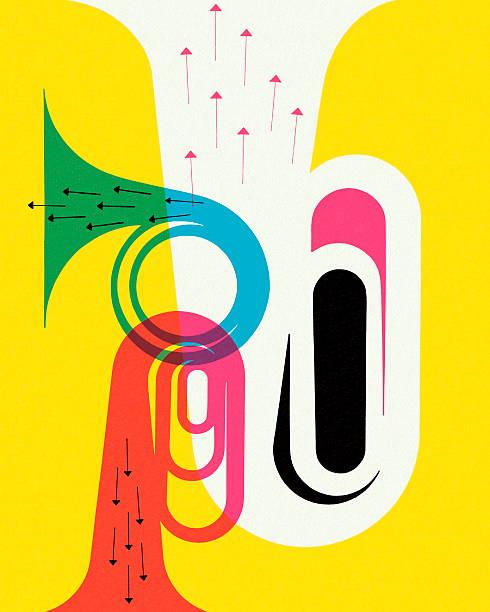 mosiądz przyrządy - instrument dęty stock illustrations