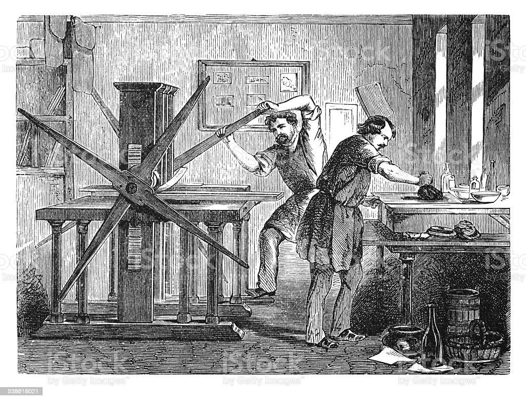 Brass printing workshop (antique engraving) vector art illustration