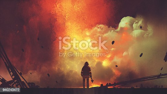 brave firefighter facing the explosion
