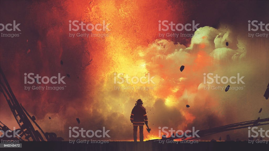 brave firefighter facing the explosion vector art illustration