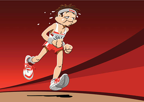 """Brave Runner Cartoon """"Vector Illustration of a brave marathon runner. The background is on a separate layer, so you can use the illustration on your own background. The colors in the .eps-file are ready for print (CMYK). Included files: EPS (v8) and Hi-Res JPG."""" running stock illustrations"""