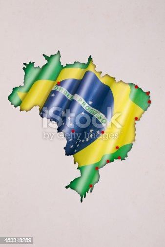 istock Brazil 2014 map of soccer championship 453318289