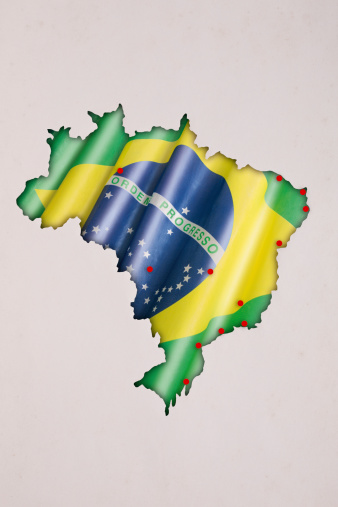 Brazil 2014 map of soccer championship