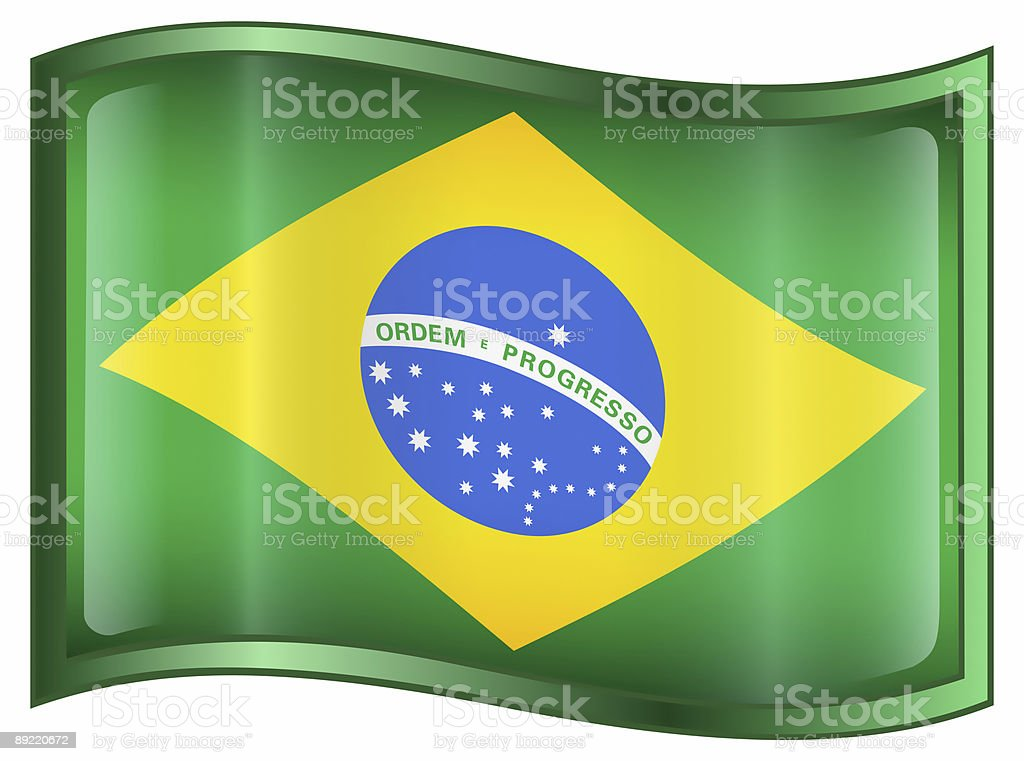 Brazil Flag Icon, isolated on white background royalty-free stock vector art
