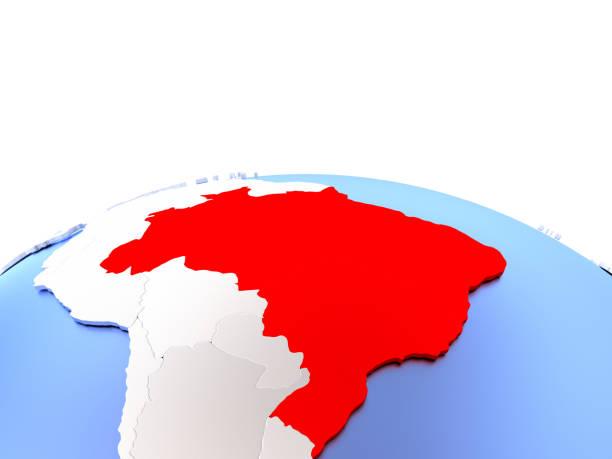 Brazil on globe - ilustración de arte vectorial