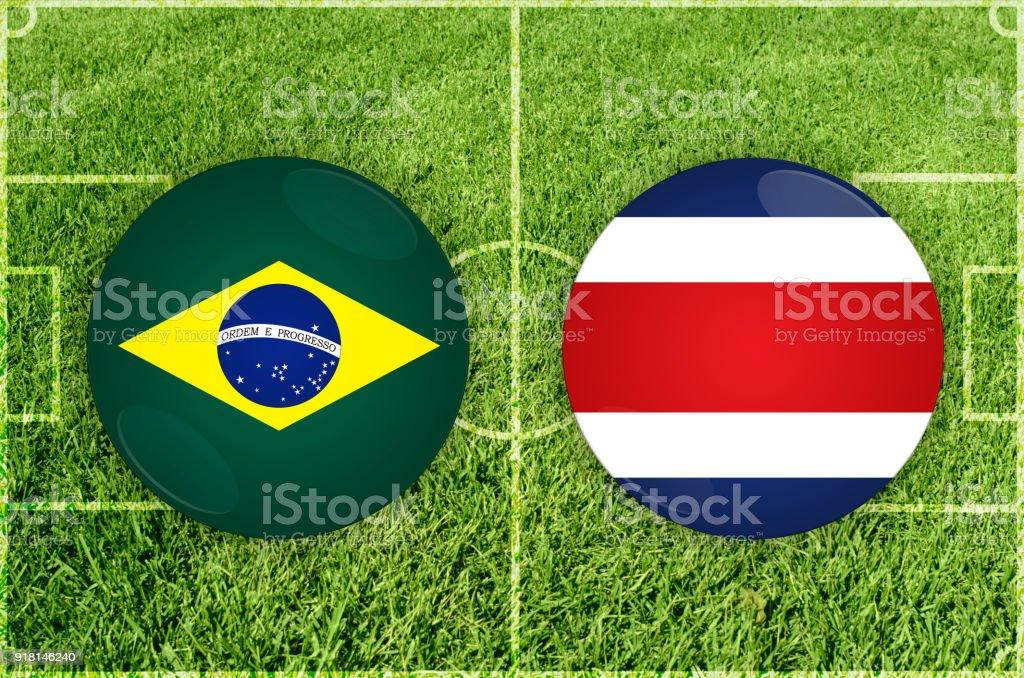 brazil vs costa rica football match stock vector