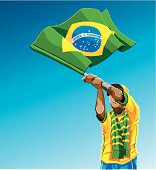 """""""Vector Illustration of a Brazilian soccer fan. The background is on a separate layer, so you can use the illustration on your own background. The colors in the .eps and .ai-files are ready for print (CMYK). Included files: EPS (v8), AI (CS2) and Hi-Res JPG."""""""