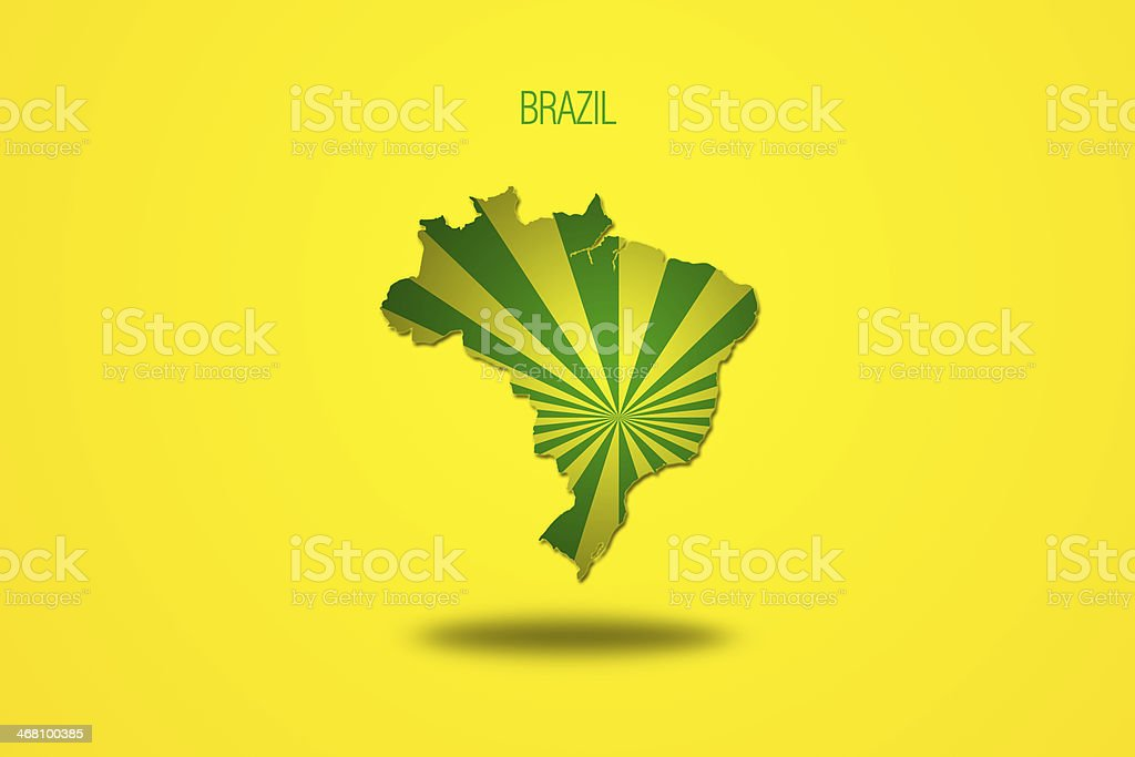 Brazilian flag in Brazil map. royalty-free stock vector art