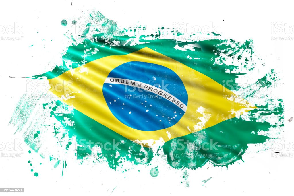 Brazilian Ink Grunge Flag vector art illustration