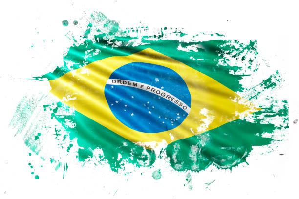 Brazilian Ink Grunge Flag vector art illustration