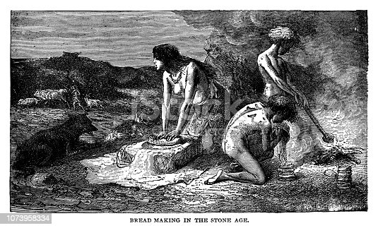 Bread making in the stone age - Scanned 1890 Engraving