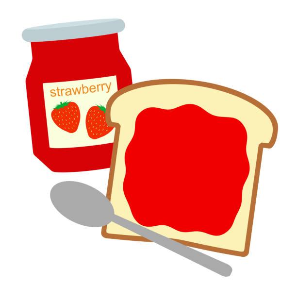 イチゴジャムのパン - 食パン点のイラスト素材/クリップアート素材/マンガ素材/アイコン素材