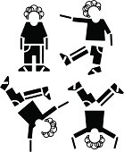 Four pictograms with dancing boy