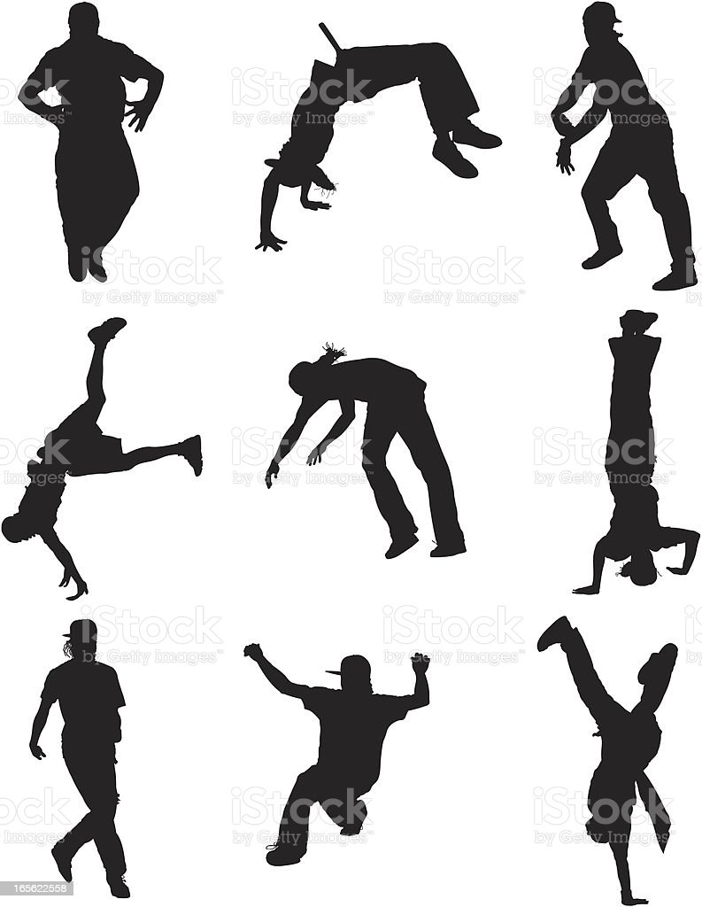 Breakdancer Silhouettes vector art illustration